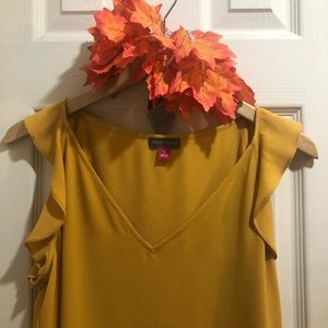 Vince Camuto Mustard Color Ruffle Sleeve Top